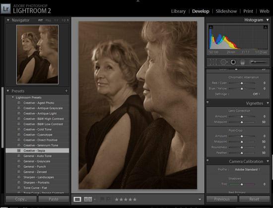 sepia toning preset in Adobe lightroom