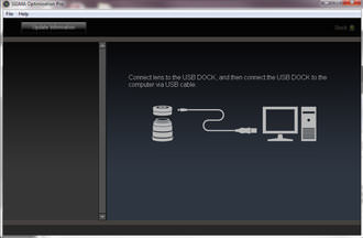 The software picks up the USB doc almost immediately when connected via USB with a compatible lens attached.