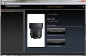 Once the lens is detected, options for updating the firmware and customising the lens are available.