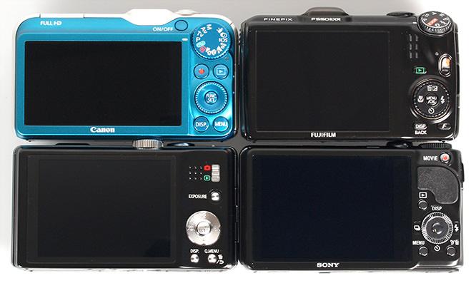 Canon Powershot SX230, Fujifilm FinePix F550 EXR, Sony Cybershot HX9v, Panasonic Lumix TZ20 Back Screens