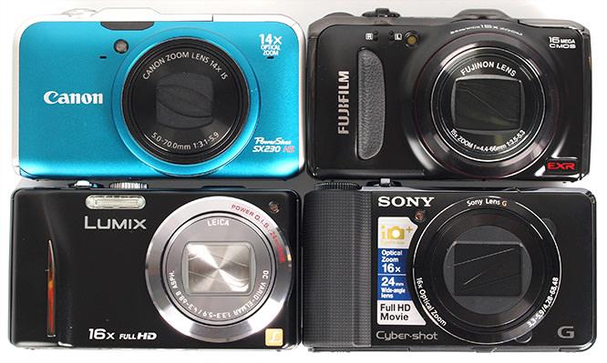 Canon Powershot SX230, Fujifilm FinePix F550 EXR, Sony Cybershot HX9v, Panasonic Lumix TZ20 Size Comparison