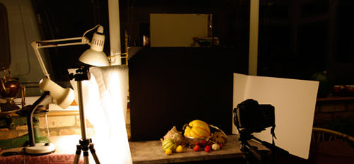 Still life shoot at night