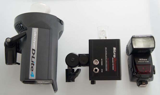 Size comparison of Strobeam,  studio flash and Speedlite