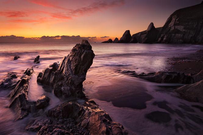 Twilight at Westcombe Bay, South Devon.