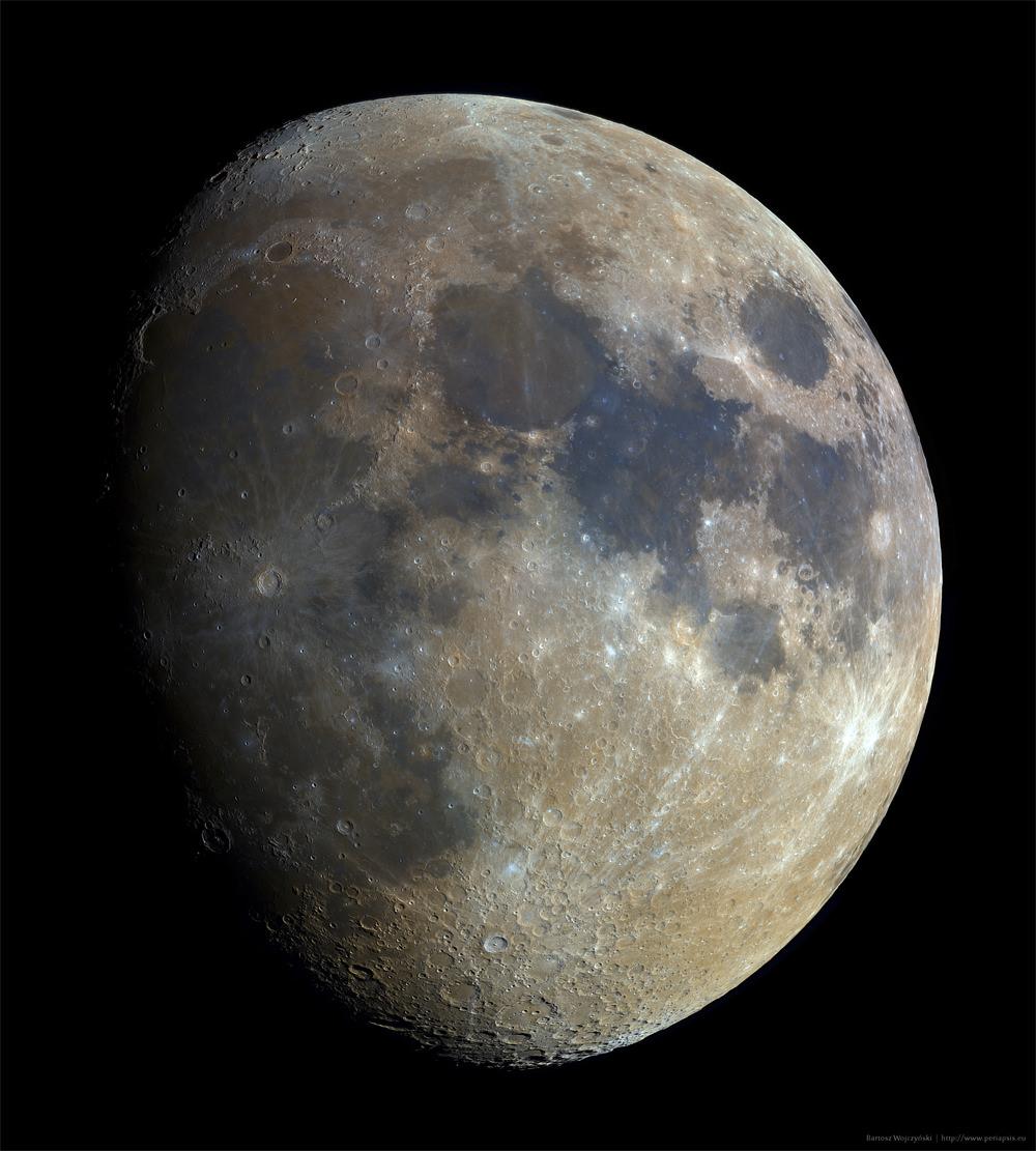 Bicolor gibbous Moon