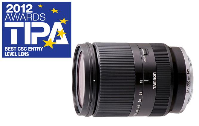 18-200mm VC lens and TIPA Award Logo