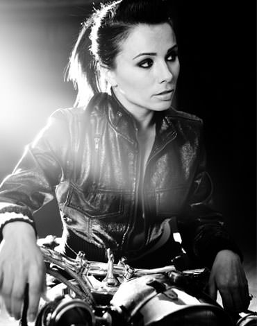 Biker in black and white