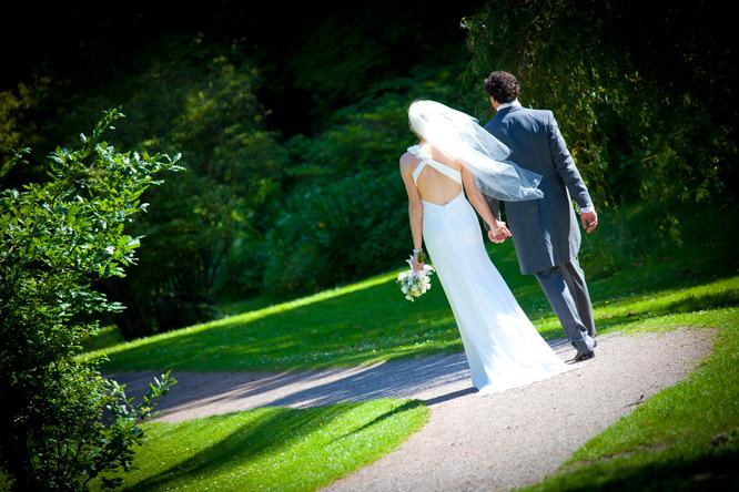 Wedding - Bride and groom walking