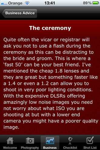 Wedding Photographers Starter Kit - Business advice page