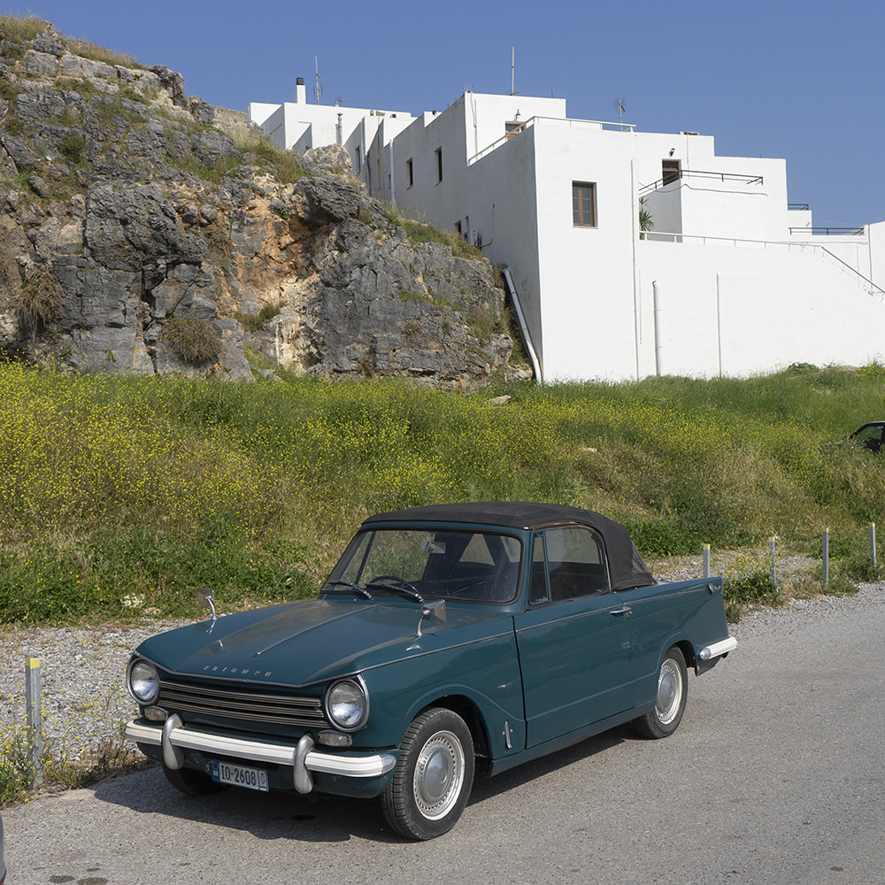 A few yards away, I found this ancient Heraldic Device (aka Triumph Herald, from around 1970) – a different and more personal memory of Lindos.