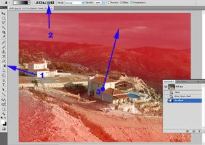 Tilt lens Photoshop effect - adding the quick mask gradient