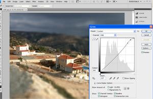 Tilt lens Photoshop effect - adjusting contrast using curves