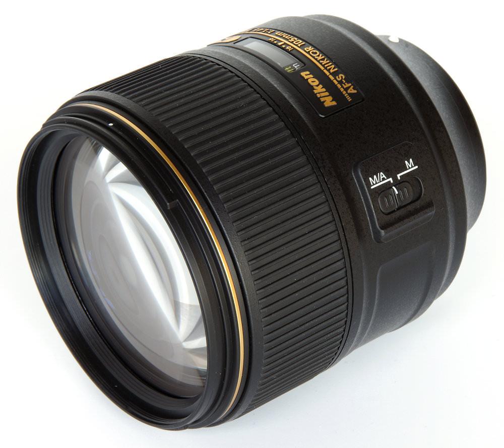 Nikon 105mm F1,4 Front Oblique View