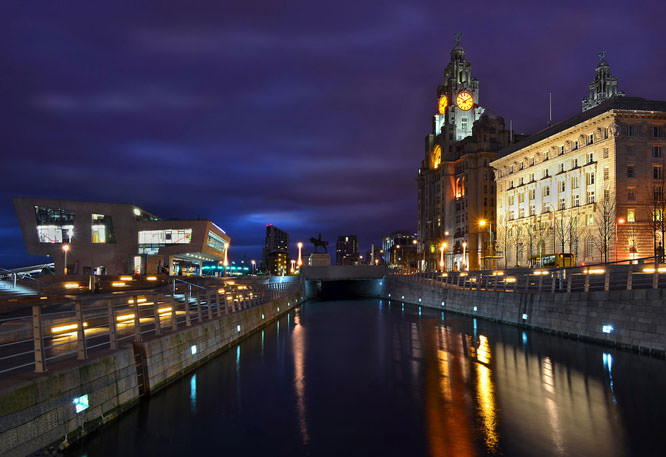 Pierhead, Liverpool, Merseyside at Twilight