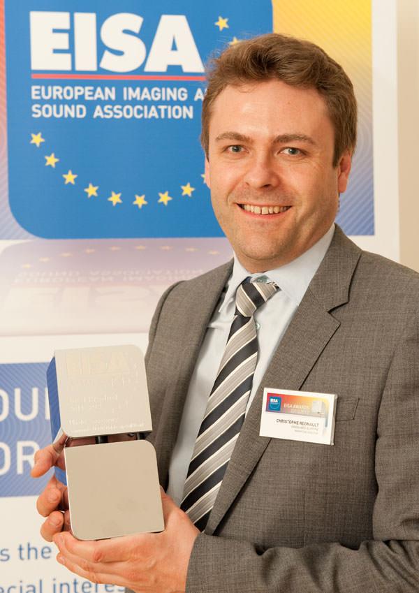 Christophe Regnault receiving the EISA award trophee 2011-2011 - European Best Photo-video accessory