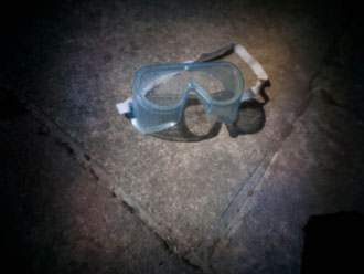 goggles on patio with pinwide