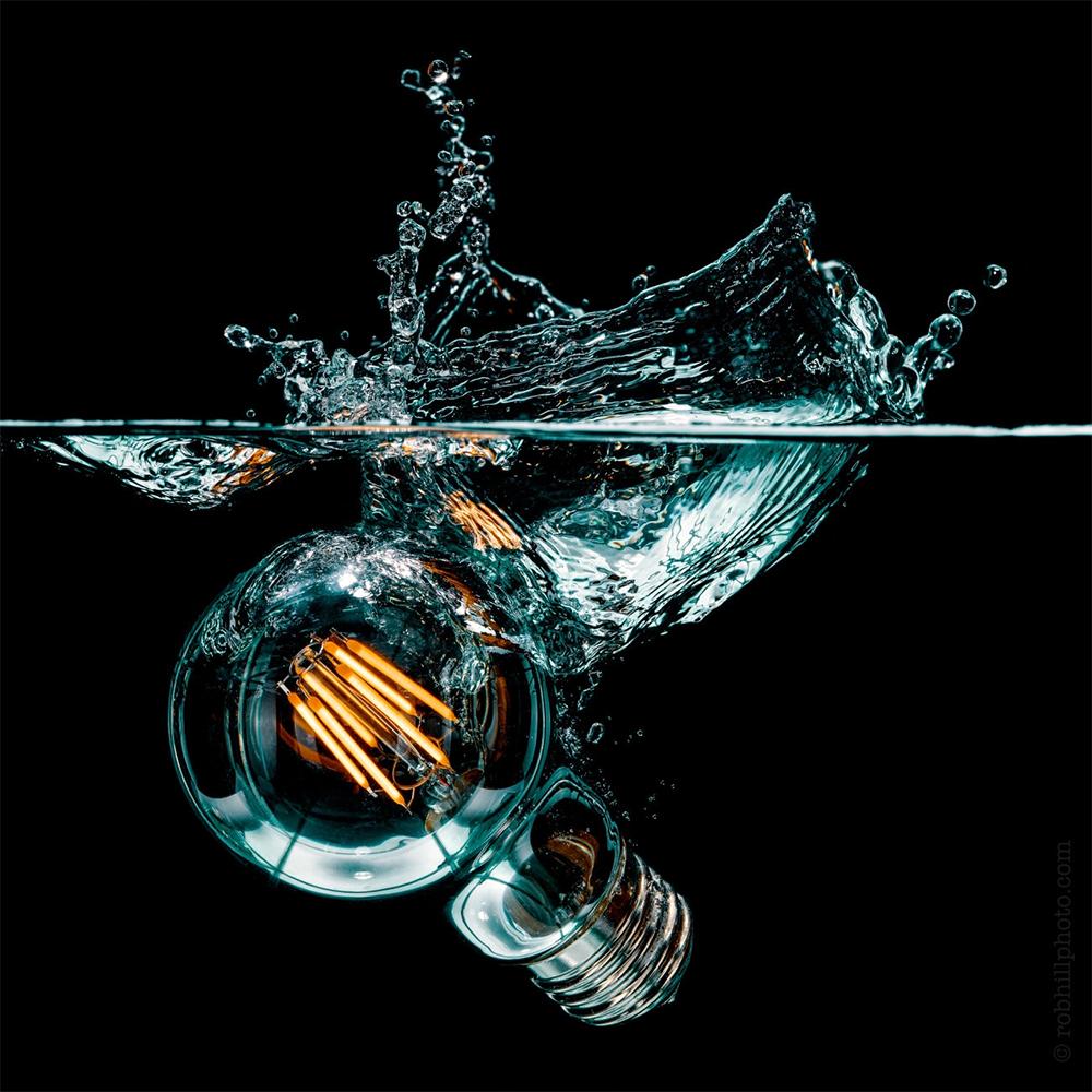 Splash photography with a bulb