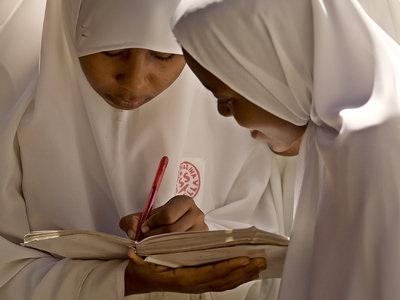 Zanzibar children writing