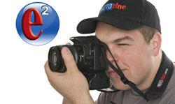 Camera strap and e2 logo