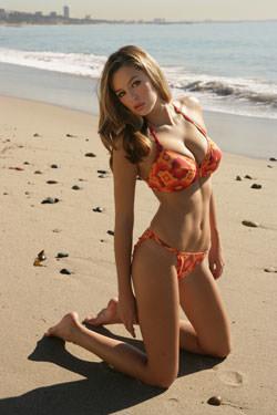 Model on beach in LA