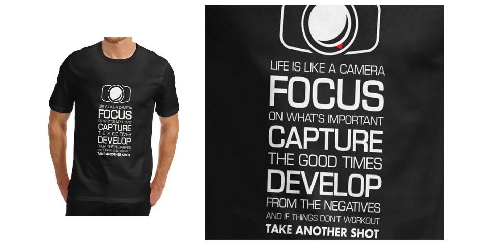 Men Cotton Novelty Gift Focus Capture Develop T-Shirt