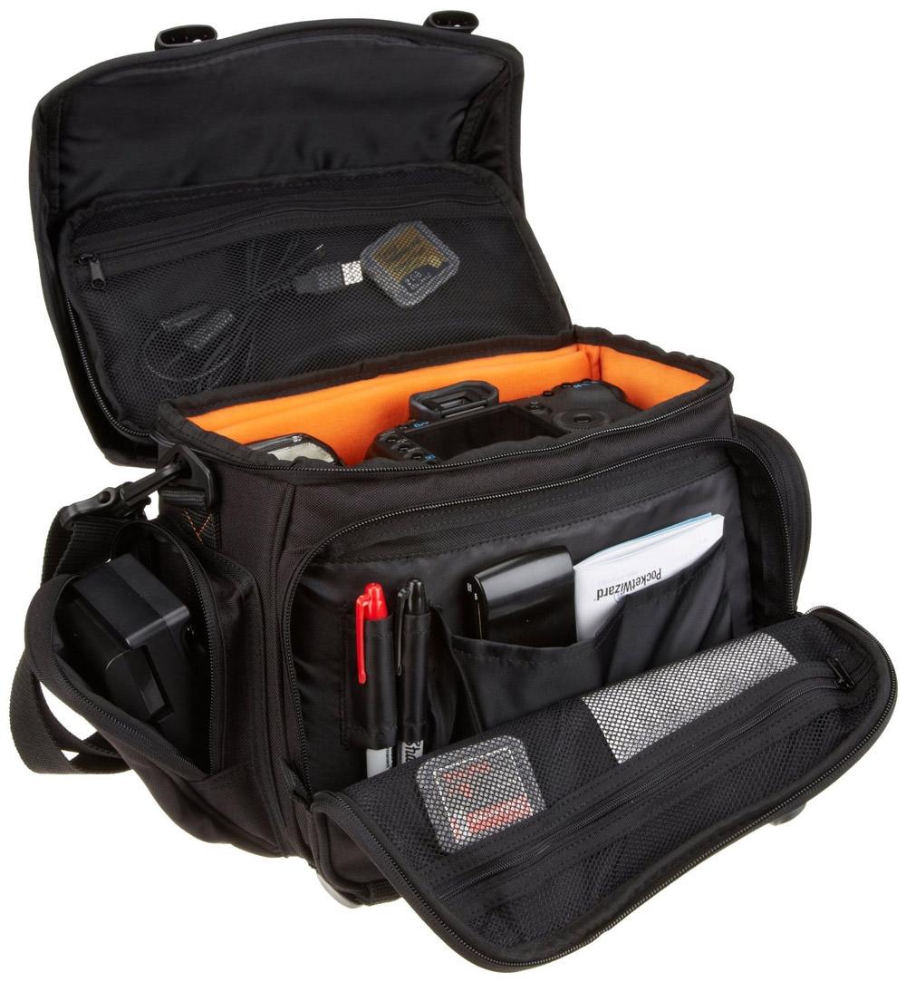AmazonBasics DSLR Gadget Messenger Bag Large with Orange Interior