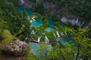 Plitvice lakes and waterfalls from the rim of the gorge