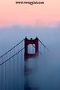 Golden Gate Bridge Twilight Fog, Marin Headlands, California