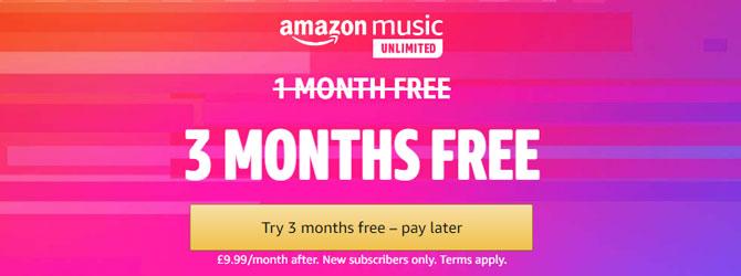 3 Months Free of Amazon Music