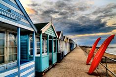 Southwold beach huts at dusk