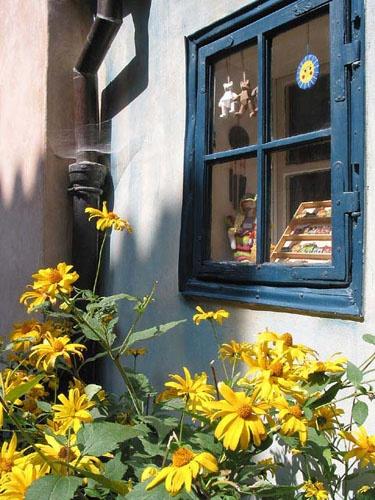 Blue window Golden Lanes Prague Castle by Stephen
