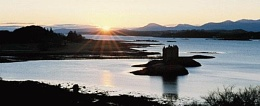 Castle Stalker at sunset, Scotland