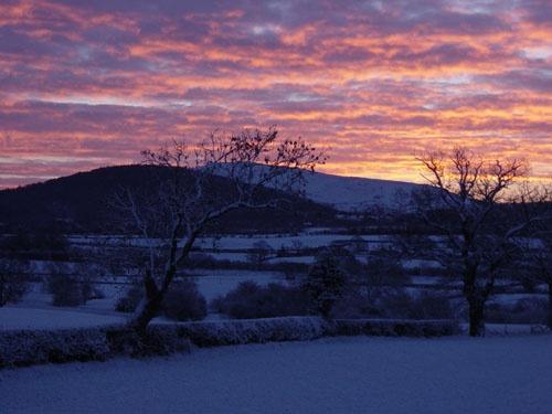 Snowy sunrise in Shropshire by muddymoose