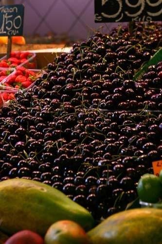 Cherries on Market Stall by gersmudge