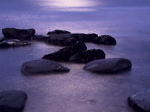 Sea & Rocks in Moonlight by alfpics