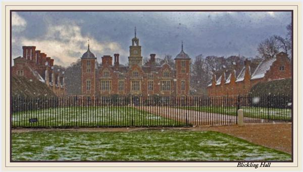 Snowing at Blickling Hall by Jimbob