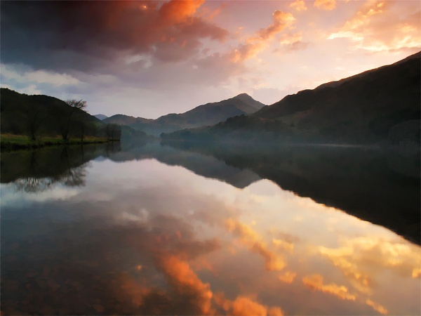 Llyn Gwynant, Sunset by mrarth