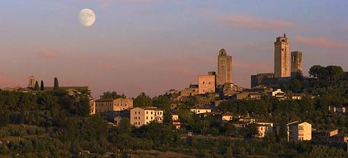Moon over San Gimignano by photographerjoe