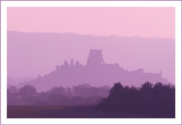 Corfe Castle in purple haze by JohnoP