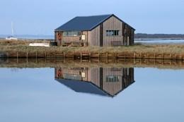 Reflected boathouse
