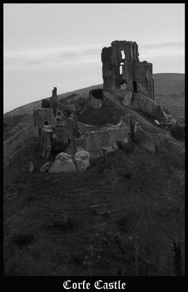 Corfe Castle B+W by PMeldrum