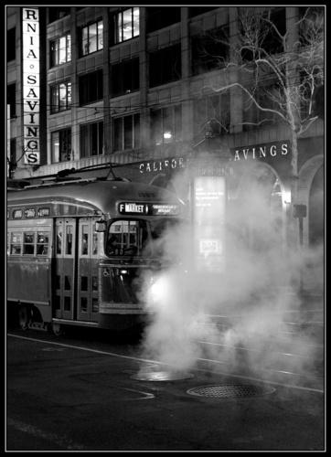 Frisco Electric Tram B&W by liparig