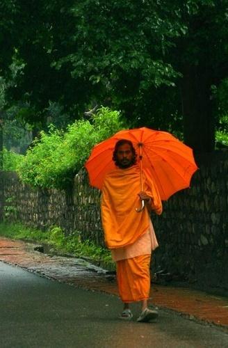 monk in the rain by Kali