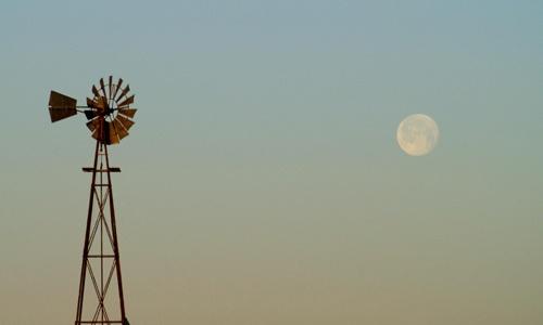 Windmill at moonset by jayhawk2000