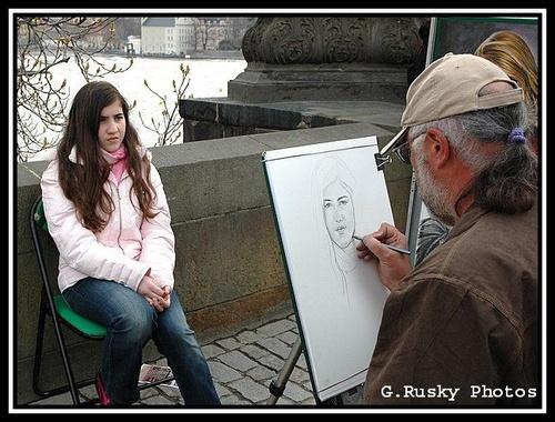 6 May. Posing on Charles Bridge-One. by GeorgeRusky