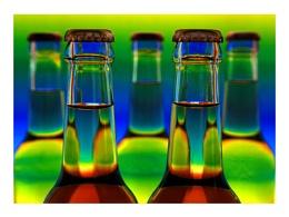 Five colourful bottles