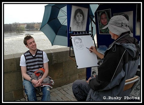6 May. Posing on Charles Bridge-Four by GeorgeRusky