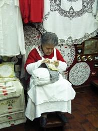 lady making lace