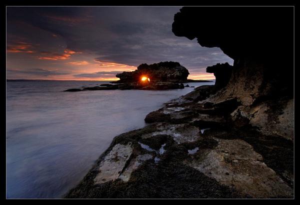 Sunrise through Bird Rock by Robsterios