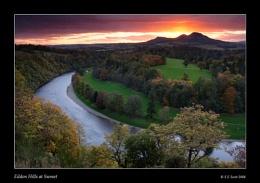 Eildon Hills at Sunset